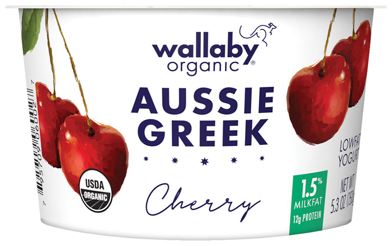 Wallaby Cherry Organic Greek Low Fat Yogurt