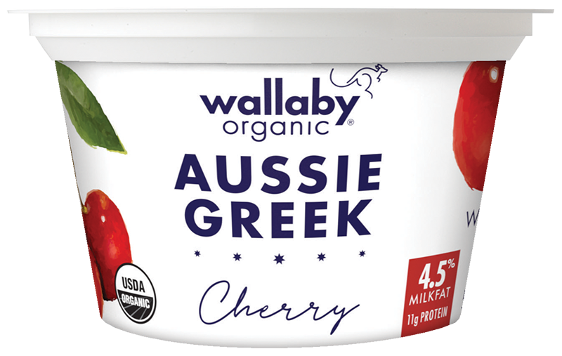 Wallaby Cherry Organic Whole Milk Greek Yogurt