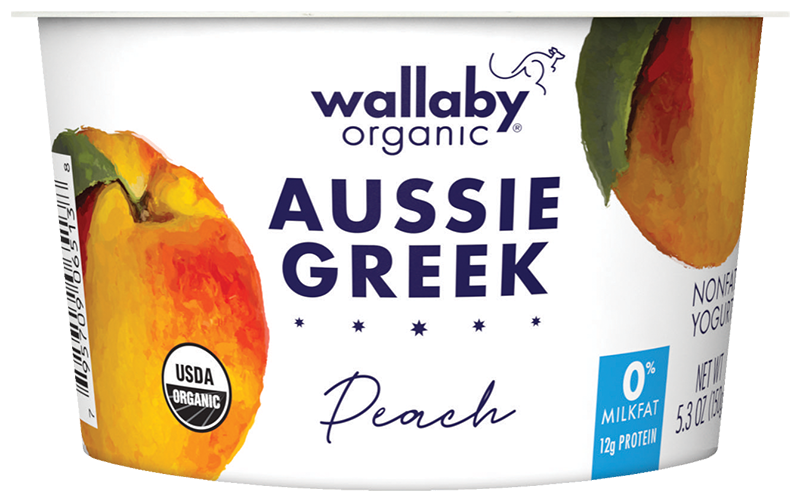 Wallaby Peach Organic Greek Nonfat Yogurt