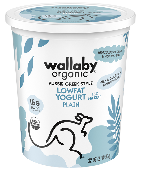 Wallaby Plain Organic Greek Low Fat Yogurt 32oz