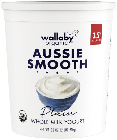 Wallaby Plain Organic Whole Milk Yogurt 32oz