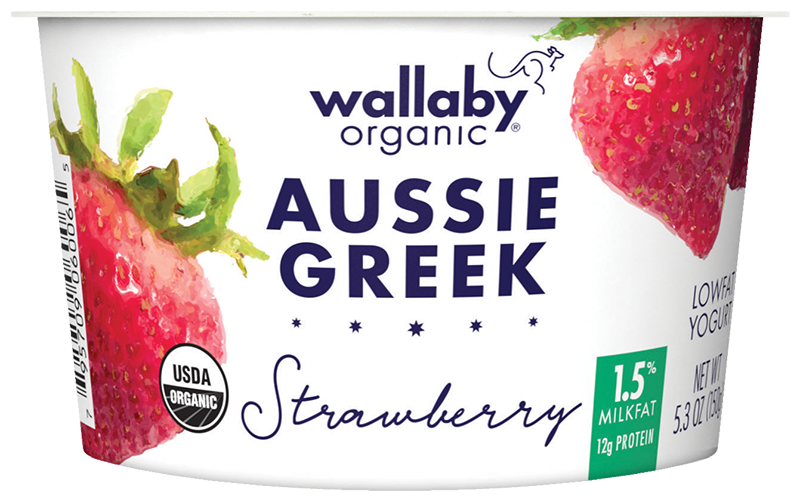 Wallaby Strawberry Organic Greek Low Fat Yogurt